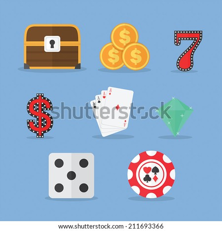 Set of Gambling & Slot Machine Icons, VECTOR, EPS10 - stock vector