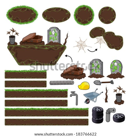 Set of game elements. Platforms and objects. Vector isolated items. - stock vector