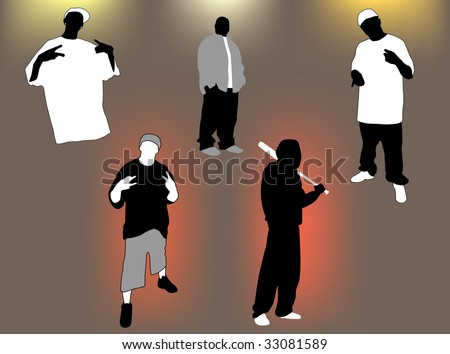 Set of gangsta 5 poses and attitudes. Ideal for street and/or hip hop oriented design, files in eps format compatible illustrator 8. - stock vector