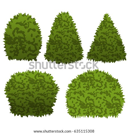 garden bushes. Set Of Garden Bushes. Isolated Vector Bushes Can Be Used To Construct Topiary Scene N