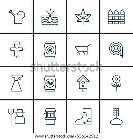 set of 16 garden icons includes fire tube sprinkler grower and other symbols - Garden Sprinkler Design