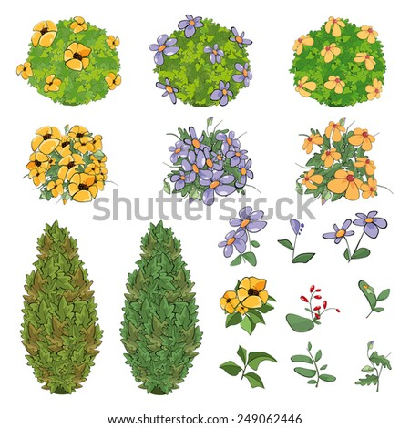 Set of garden plants with flowers for you design and computer game  - stock vector