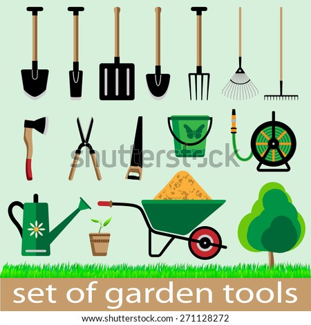 Set of garden tools. Icon. Vector illistration. - stock vector