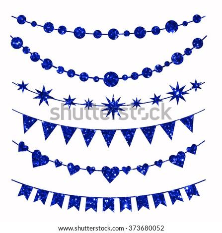 Set of garlands made of blue glitter texture. - stock vector