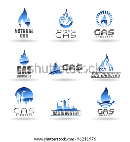 Set of gas energy icons. Natural gas. Gas industry. - stock vector