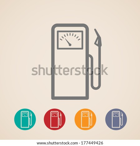 set of gas pump icons - stock vector