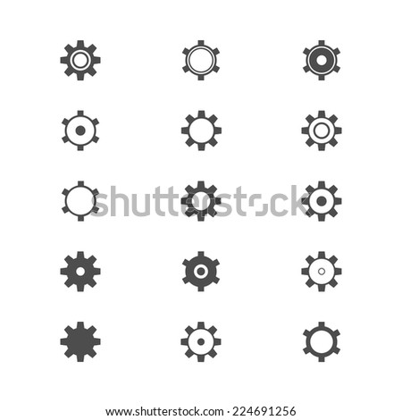 Set of Gear icon - stock vector