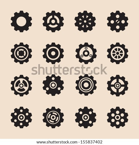 set of gear , vector - stock vector