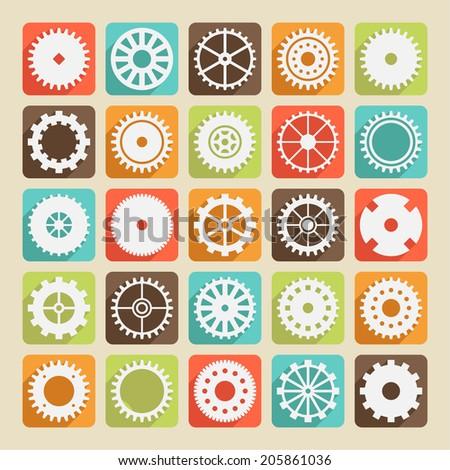 Set of gear wheels  - stock vector