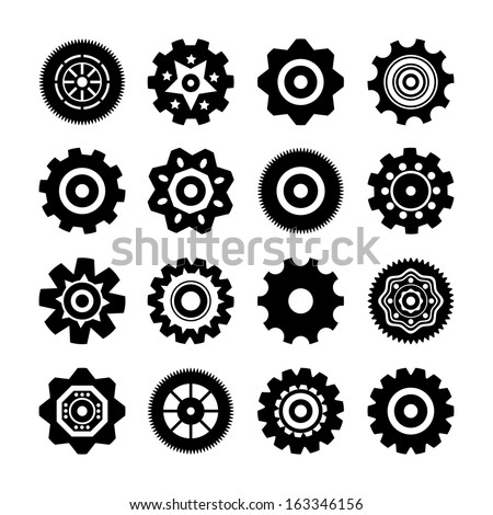 Set of gear wheels icons vector illustration isolated - stock vector