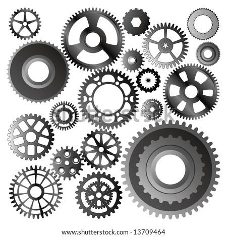 set of gear wheels vector - stock vector