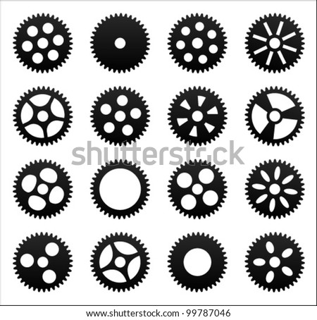 Set of gear wheels. Vector illustration. - stock vector
