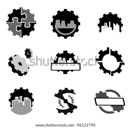 Set of gear wheels vector logos and graphic design elements - stock vector