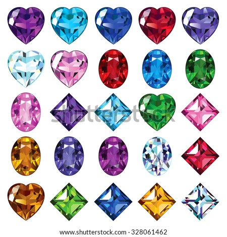Set of gemstone icons. Bright gems of different shapes. - stock vector