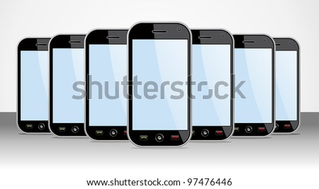 Set of generic black smartphones templates on black background. You can place your own images on the screens. EPS 8 vector, cleanly built grouped and ordered in layers for easy editing. - stock vector