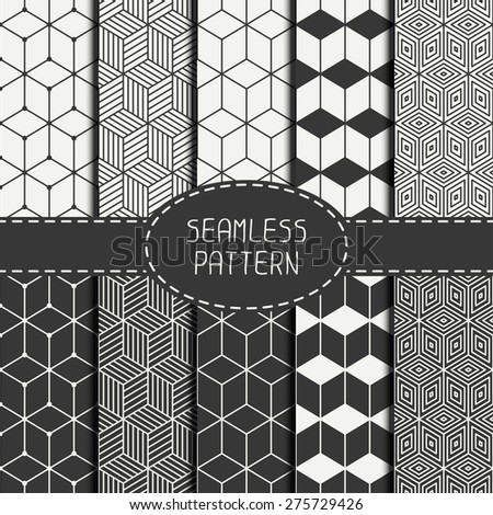 Set of geometric abstract seamless cube pattern with rhombuses. Wrapping paper. Paper for scrapbook. Tiling. Vector illustration. Background. Graphic texture with optical illusion effect. - stock vector