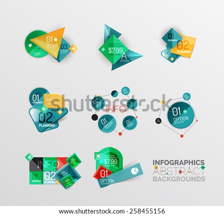Set of geometric abstract shape infographic layouts, colorful buttons with text - stock vector