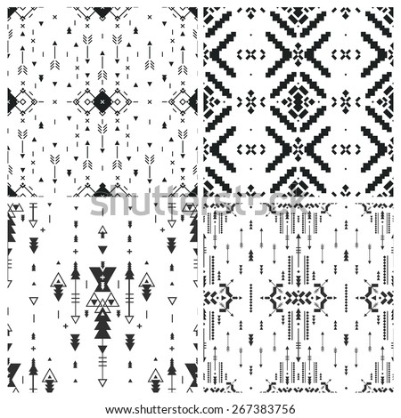 Set of Geometric background, Tribal seamless pattern, ethnic collection, aztec stile isolated on white background - stock vector