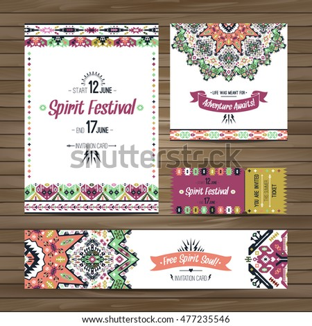 Set of geometric boho bright flyers. Vector decorative ethnic greeting card or invitation design background