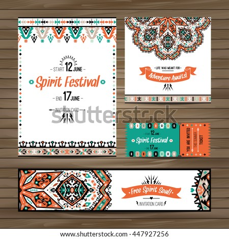 Set of geometric boho colorful flyers. Vector decorative ethnic greeting card or invitation design background
