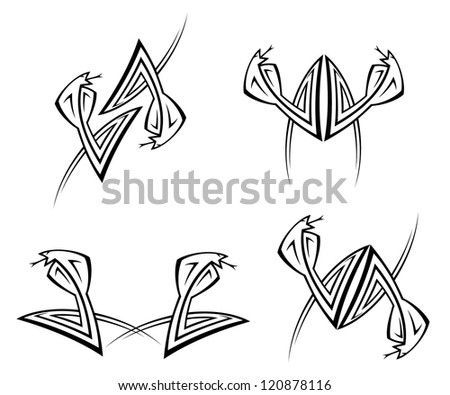 Set of geometric cobra tattoos - vector illustration - stock vector