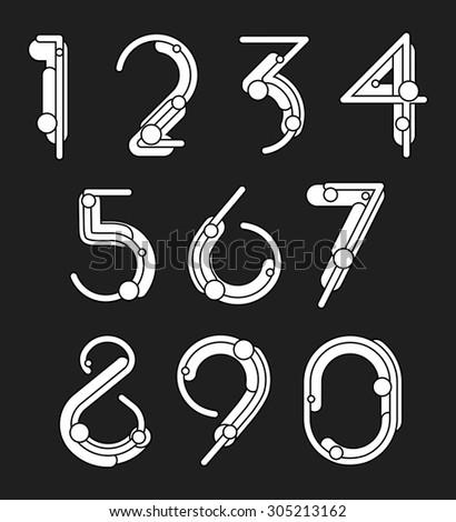 Set of geometric digits. Vector illustration - stock vector