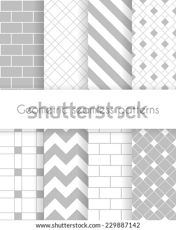 Set of geometric minimalistic seamless patterns in white and gray colors. Vector illustration - stock vector