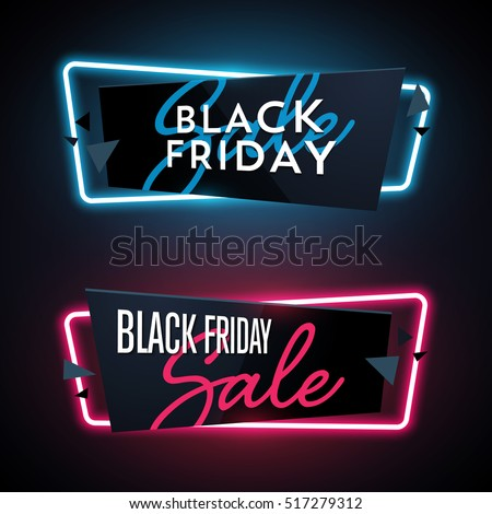 Set of geometric neon vector banners. Glossy plastic material style. Origami paper. Black Friday Sale labels.