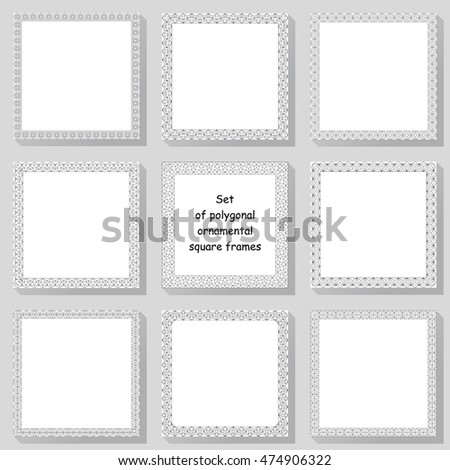 Set of geometric ornamental square frames with polygonal elements on the gray background