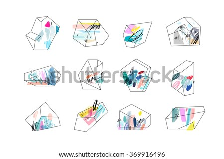 Set of geometric outline shapes and crystals. Trendy hipster logotypes. Polygonal icons with artistic colored background. Vector. Isolated. - stock vector