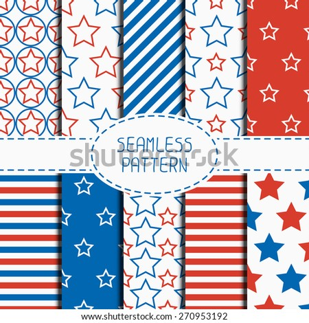 Set of geometric patriotic seamless pattern with red, white, blue stars. American symbols. USA flag. 4th of July. Wrapping paper. Paper scrapbook. Tiling. Vector nautical starry background. - stock vector