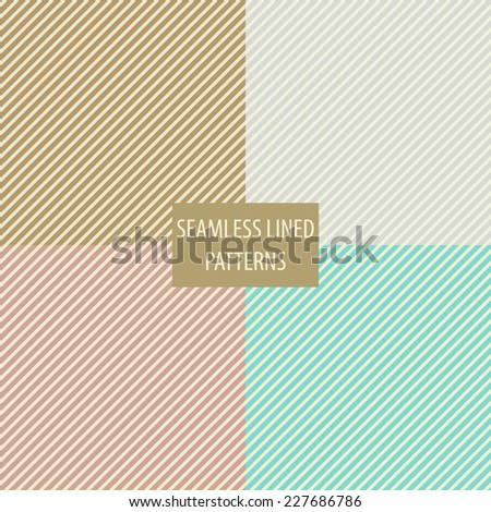 Set of geometric seamless diagonal lined patterns in cold, light colors - stock vector