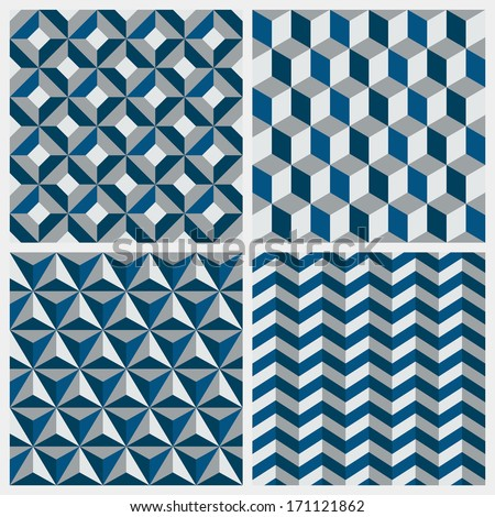 Set of geometric seamless patterns - stock vector