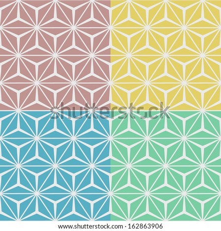 Set of 4 geometric seamless patterns. Vector illustration.  - stock vector