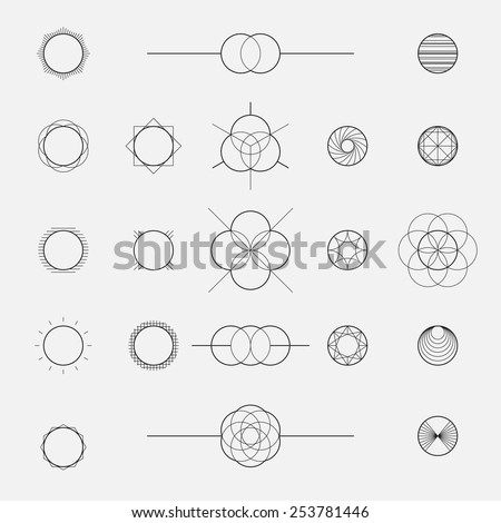 Set of geometric shapes, circles, line design, vector - stock vector