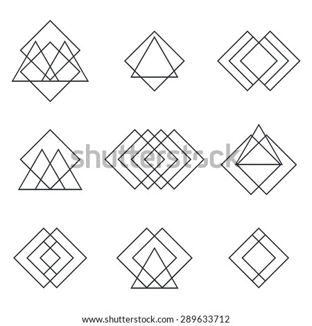 Set of geometric shapes triangles, lines for your design. Trendy hipster logotypes. Vector illustration - stock vector