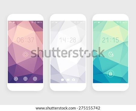 Set of geometric wallpapers for mobile phone - stock vector