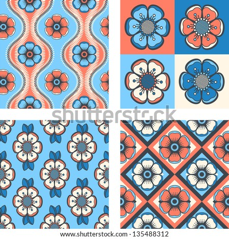 Set of geometrical pattern with abstract flowers, seamless vector background. For fashion textile, cloth, backgrounds. - stock vector