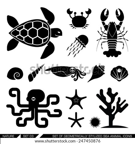 Set of geometrically stylized sea animal icons. Set of various sea animal icons: turtle, crab, lobster octopus, shell, jellyfish, starfish, squid. Vector illustration. - stock vector