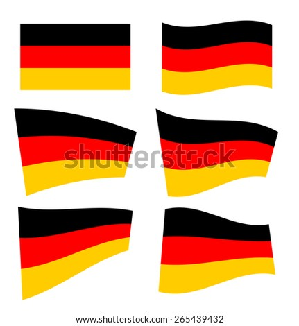 Set of german flags on white background. Vector illustration