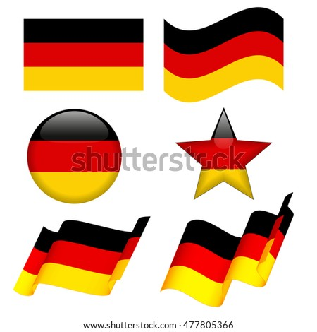 Set of Germany flag concepts isolated on white background, like flat, waving, round shape, star shape. Collection of elements for logos, icons, print products, page and web decor.