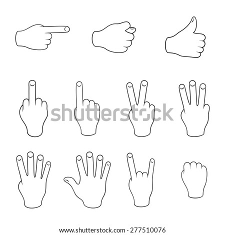 Set of gestures. Contours on a white background. - stock vector