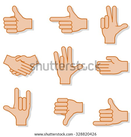 Set of gestures hands with shadow on white background