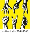 Set of gestures of hands in a vector - stock photo