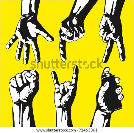 Set of gestures of hands in a vector - stock vector