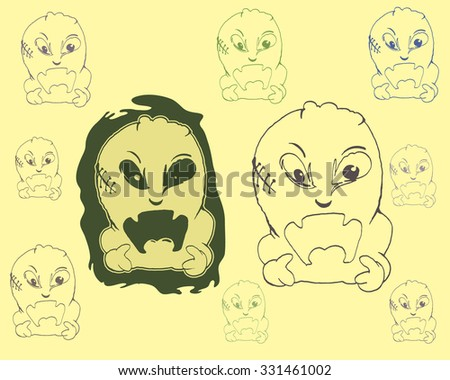 set of ghost cartoon illustration isolated on yellow  - stock vector