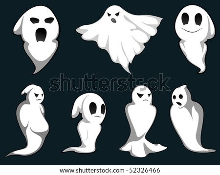 Set of ghosts for design isolated on background. Jpeg version also available in gallery - stock vector