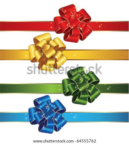 Set of gift bows and ribbons - stock vector