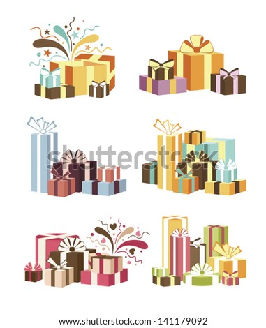 Set of gift boxes - stock vector