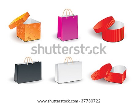 Set of gift boxes and bags - stock vector